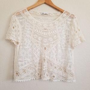 Zara Ivory Boho Embroidered Blouse Top Size M